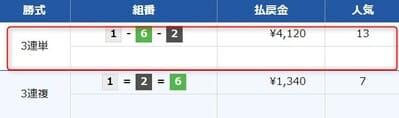 万舟ジャパンの有料情報2レース目結果