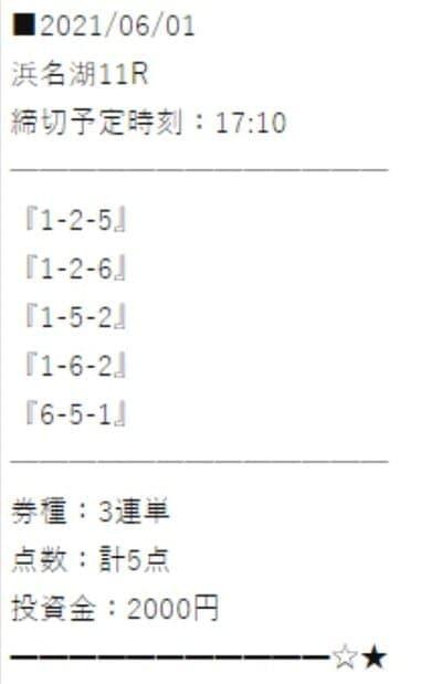万舟ジャパンの有料情報2レース目の買い目